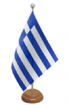 Greece Desk / Table Flag with wooden stand and base